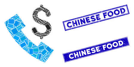 Mosaic payphone pictogram and rectangular Chinese Food seal stamps. Flat vector payphone mosaic pictogram of random rotated rectangle elements. Blue Chinese Food rubber stamps with dirty surface. Stock Illustratie