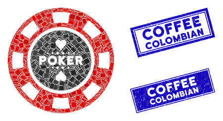 Mosaic poker casino chip pictogram and rectangle Coffee Colombian rubber prints. Flat vector poker casino chip mosaic pictogram of scattered rotated rectangle items.