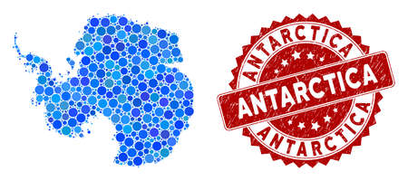 Mosaic Antarctica map and round rubber print. Flat vector Antarctica map mosaic of randomized round items. Red stamp imprint with rubber design. Designed for political and patriotic applications. 일러스트