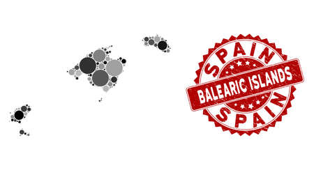 Mosaic Balearic Islands map and round seal. Flat vector Balearic Islands map mosaic of randomized round elements. Red seal with rubber texture. Designed for political and patriotic doctrines. Vecteurs
