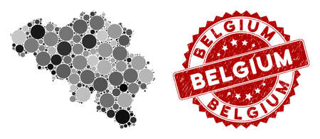Mosaic Belgium map and circle seal. Flat vector Belgium map mosaic of randomized circle items. Red seal stamp with scratched surface. Designed for political and patriotic applications. Ilustração