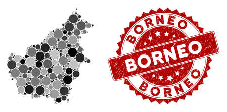 Mosaic Borneo Island map and circle seal stamp. Flat vector Borneo Island map mosaic of randomized circle elements. Red rubber stamp with distress texture.