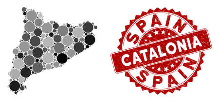 Mosaic Catalonia map and circle stamp. Flat vector Catalonia map mosaic of randomized circle items. Red stamp imprint with distress texture. Designed for political and patriotic projects.