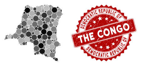 Mosaic Democratic Republic of the Congo map and circle stamp. Flat vector Democratic Republic of the Congo map mosaic of random circle elements. Red stamp with grunged texture. Standard-Bild - 134506453
