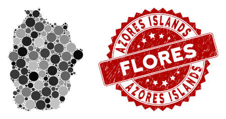 Mosaic Flores Island of Azores map and round seal stamp. Flat vector Flores Island of Azores map mosaic of scattered round items. Red seal stamp with dirty design.