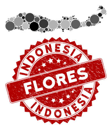 Mosaic Flores Island of Indonesia map and circle seal stamp. Flat vector Flores Island of Indonesia map mosaic of randomized circle elements. Red stamp with distress design.