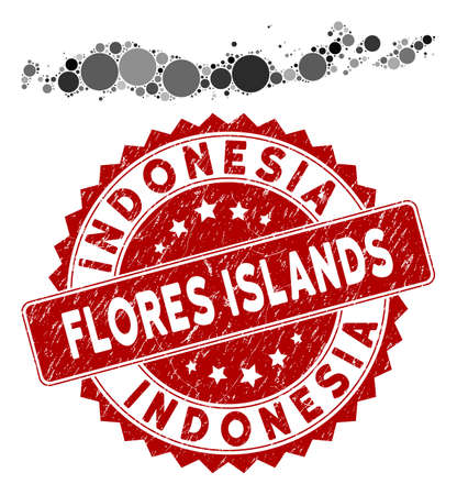 Mosaic Flores Islands of Indonesia map and circle seal stamp. Flat vector Flores Islands of Indonesia map mosaic of random circle items. Red stamp imprint with grunge design.