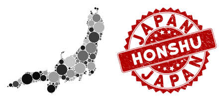 Mosaic Honshu Island map and round stamp. Flat vector Honshu Island map mosaic of scattered round items. Red rubber stamp with rubber texture. Designed for political and patriotic purposes. Illustration