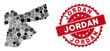 Mosaic Jordan map and round rubber print. Flat vector Jordan map mosaic of random round items. Red rubber seal with rubber style. Designed for political and patriotic doctrines.