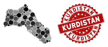 Mosaic Kurdistan map and circle seal stamp. Flat vector Kurdistan map mosaic of random circle elements. Red rubber seal with rubber design. Designed for political and patriotic posters.