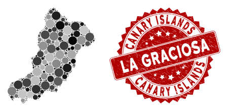 Mosaic La Graciosa Island map and circle stamp. Flat vector La Graciosa Island map mosaic of random round items. Red rubber stamp with rubber style. Designed for political and patriotic projects.