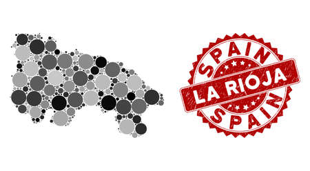 Mosaic La Rioja of Spain map and round stamp. Flat vector La Rioja of Spain map mosaic of random round items. Red rubber stamp with grunge style. Designed for political and patriotic collages.