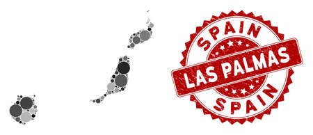 Mosaic Las Palmas Province map and circle stamp. Flat vector Las Palmas Province map mosaic of scattered circle elements. Red seal stamp with scratched surface.