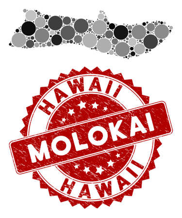 Mosaic Molokai Island map and circle rubber print. Flat vector Molokai Island map mosaic of random circle elements. Red rubber stamp with rubber design. Designed for political and patriotic agitation.