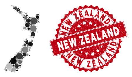 Mosaic New Zealand map and round stamp. Flat vector New Zealand map mosaic of randomized round items. Red stamp imprint with scratched texture. Designed for political and patriotic promotion.