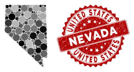 Mosaic Nevada State map and circle seal stamp. Flat vector Nevada State map mosaic of scattered circle items. Red seal stamp with scratched style. Designed for political and patriotic proclamations.