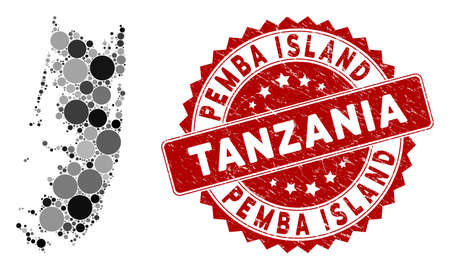 Mosaic Pemba island map and round seal stamp. Flat vector Pemba island map mosaic of random round elements. Red seal stamp with scratched texture. Designed for political and patriotic applications.