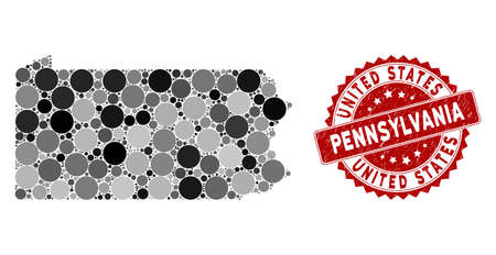 Mosaic Pennsylvania State map and circle rubber print. Flat vector Pennsylvania State map mosaic of randomized circle elements. Red watermark with grunge design.