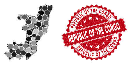 Mosaic Republic of the Congo map and circle stamp. Flat vector Republic of the Congo map mosaic of randomized circle elements. Red rubber stamp with grunge texture. Standard-Bild - 134506732