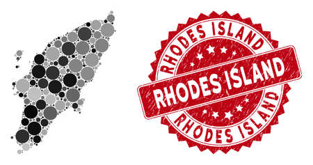 Mosaic Rhodes Island map and circle seal stamp. Flat vector Rhodes Island map mosaic of randomized circle items. Red stamp imprint with grunged texture. Designed for political and patriotic promotion.