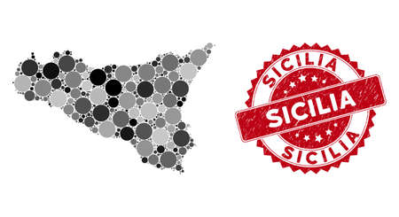Mosaic Sicilia map and round seal stamp. Flat vector Sicilia map mosaic of random round items. Red seal with scratched style. Designed for political and patriotic projects.