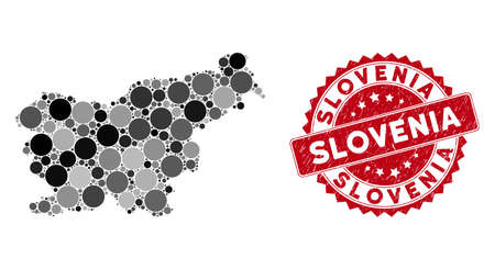 Mosaic Slovenia map and circle seal stamp. Flat vector Slovenia map mosaic of scattered circle elements. Red seal with dirty style. Designed for political and patriotic promotion.