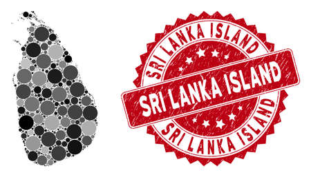 Mosaic Sri Lanka Island map and round stamp. Flat vector Sri Lanka Island map mosaic of scattered round elements. Red rubber stamp with distress surface.