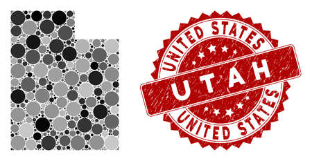 Mosaic Utah State map and round seal. Flat vector Utah State map mosaic of scattered round items. Red seal stamp with grunge style. Designed for political and patriotic agitprop.