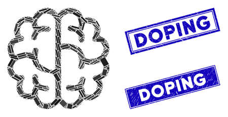 Mosaic brain icon and rectangular Doping rubber prints. Flat vector brain mosaic pictogram of randomized rotated rectangular items. Blue Doping rubber stamps with rubber texture.