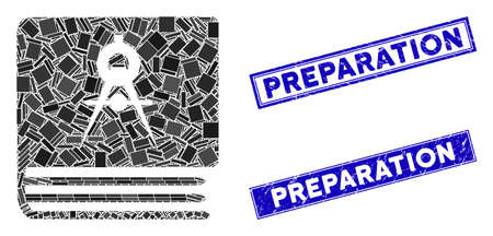 Mosaic engineering book pictogram and rectangle Preparation seal stamps. Flat vector engineering book mosaic pictogram of randomized rotated rectangle elements.