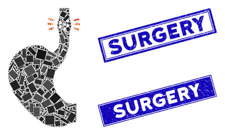 Mosaic esophageal cancer icon and rectangle Surgery stamps. Flat vector esophageal cancer mosaic icon of randomized rotated rectangle elements. Blue Surgery seal stamps with rubber texture.