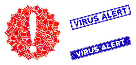 Mosaic dangerous conditions icon and rectangle Virus Alert stamps. Flat vector dangerous conditions mosaic icon of randomized rotated rectangle elements. Illusztráció