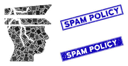 Mosaic corrupted police officer icon and rectangular Spam Policy seal stamps. Flat vector corrupted police officer mosaic icon of randomized rotated rectangle items. Ilustrace