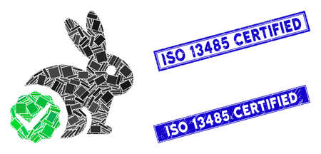 Mosaic for rabbits only icon and rectangle ISO 13485 Certified seal stamps. Flat vector for rabbits only mosaic pictogram of scattered rotated rectangle elements.