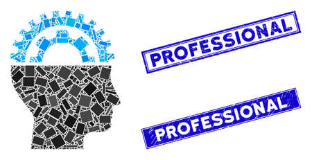 Mosaic gear engineer pictogram and rectangular Professional seals. Flat vector gear engineer mosaic pictogram of random rotated rectangular items. Blue Professional stamp imprints with grunge texture.
