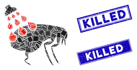 Mosaic get rid of fleas pictogram and rectangular Killed rubber prints. Flat vector get rid of fleas mosaic pictogram of random rotated rectangular items. Blue Killed seals with rubber texture.