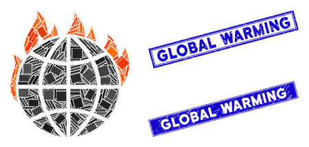 Mosaic global warming fire icon and rectangular Global Warming seals. Flat vector global warming fire mosaic icon of random rotated rectangular items.