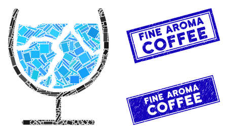 Mosaic ice drink pictogram and rectangular Fine Aroma Coffee watermarks. Flat vector ice drink mosaic pictogram of randomized rotated rectangular items.