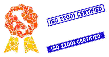 Mosaic italian quality pictogram and rectangle ISO 22001 Certified seal stamps. Flat vector italian quality mosaic icon of scattered rotated rectangular elements.