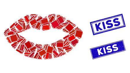 Mosaic kiss print pictogram and rectangular Kiss rubber prints. Flat vector kiss print mosaic pictogram of random rotated rectangle elements. Blue Kiss rubber seals with rubber textures.