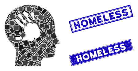 Mosaic mental imprinting icon and rectangular Homeless seals. Flat vector mental imprinting mosaic icon of random rotated rectangle elements. Blue Homeless rubber seals with distress textures. Illustration