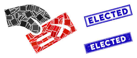 Mosaic negative vote icon and rectangle Elected seal stamps. Flat vector negative vote mosaic icon of randomized rotated rectangle items. Blue Elected seal stamps with distress textures.