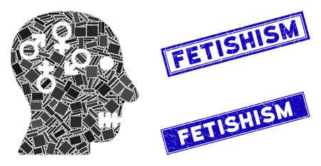 Mosaic psychosexual disorder pictogram and rectangular Fetishism stamps. Flat vector psychosexual disorder mosaic pictogram of scattered rotated rectangular items.