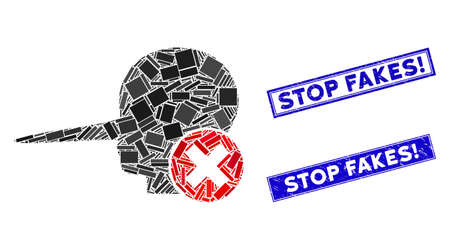 Mosaic stop fake pictogram and rectangular Stop Fakes! watermarks. Flat vector stop fake mosaic pictogram of random rotated rectangular items. Blue Stop Fakes! seal stamps with dirty textures.