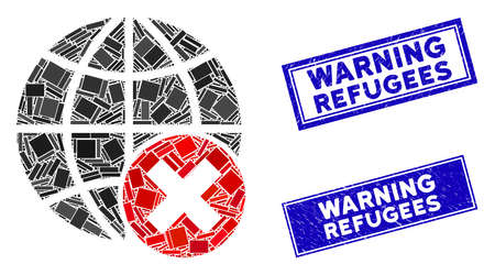 Mosaic stop globalization icon and rectangle Warning Refugees seals. Flat vector stop globalization mosaic icon of scattered rotated rectangle items. Blue Warning Refugees seals with distress texture.