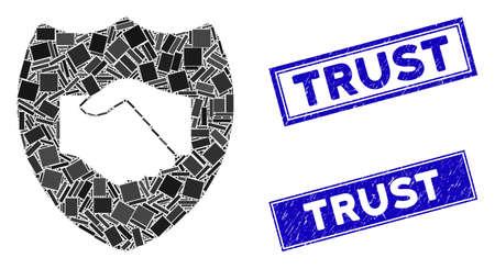 Pictograma de confianza mosaico y sellos de confianza rectangulares. Pictograma de mosaico de confianza de vector plano de elementos rectangulares rotados al azar. Huellas de sello Blue Trust con texturas de caucho.