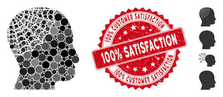 Mosaic conservator head icon and grunge stamp watermark with 100% Customer Satisfaction phrase. Mosaic vector is composed with conservator head icon and with scattered circle spots.