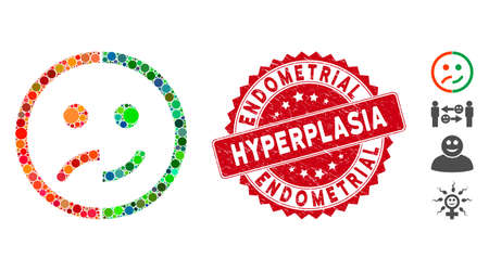 Collage bipolar emotion icon and rubber stamp seal with Endometrial Hyperplasia caption. Mosaic vector is created with bipolar emotion icon and with randomized round items. Illustration