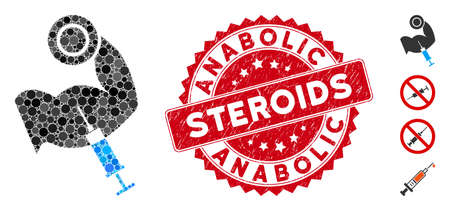 Mosaic anabolic steroids icon and distressed stamp seal with Anabolic Steroids caption. Mosaic vector is formed from anabolic steroids icon and with randomized circle elements. Illustration