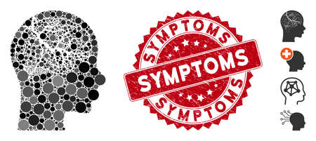 Mosaic brain carcinoma icon and rubber stamp watermark with Symptoms phrase. Mosaic vector is composed with brain carcinoma icon and with random round items. Symptoms stamp seal uses red color, Illustration